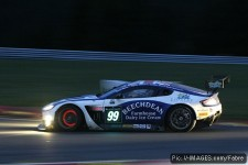 Brakes glow red as the Spa night draws in